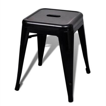 Kėdutės, 2 vnt., sukraunamos, metalinės, juodos