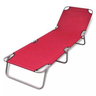 vidaXL Sulankstomas saulės gultas, plienas, raudonos sp.