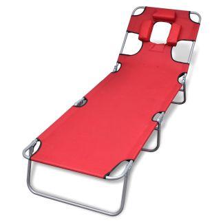 vidaXL Sulankstomas saulės gultas su pagalvėle, plienas, raudonas