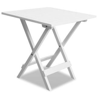 vidaXL Lauko kavos staliukas iš akacijos medienos, baltas