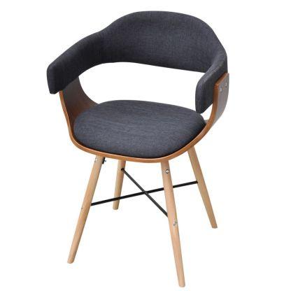 2 Valgomojo kėdės iš lenktos medienos su medžiaginiu apmušalu
