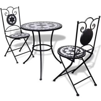 vidaXL Bistro baldų kompl., 3d., juod. ir balt. sp., keramik. plyt.