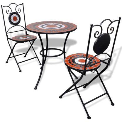 vidaXL Bistro baldų kompl., 3d., terakot. ir balt. sp., keram. plyt.