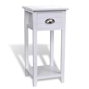 Naktinis staliukas su stalčiuku, baltas