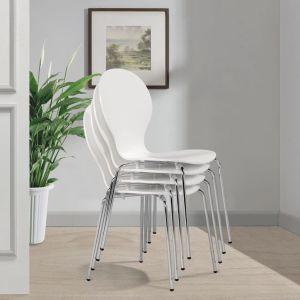 4 Sukraunamos drugelio formos valgomojo kėdės, baltos