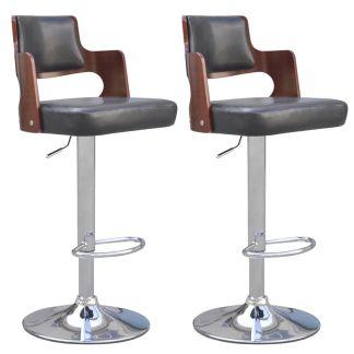 vidaXL Baro kėdės, 2 vnt., dirbtinė oda, kvadratinė sėdynė, juodos