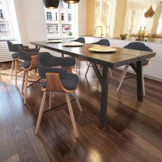 Valgomojo kėdės, 6 vnt., lenkta mediena su medžiaginiu apmušalu
