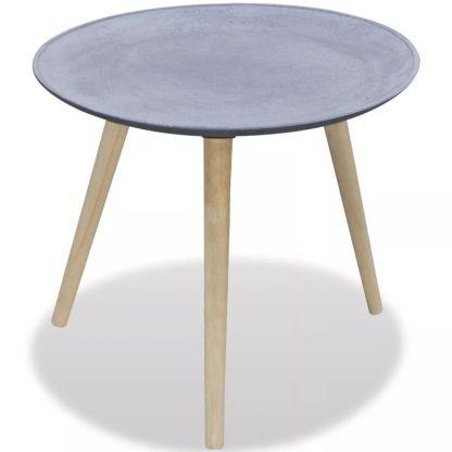 vidaXL Šoninis staliukas, apvalus, pilkas, betono apdaila