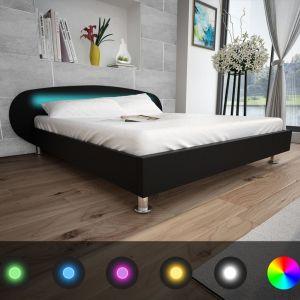 vidaXL Lovos rėmas su LED, juodos sp., 180x200cm, dirbtinė oda