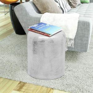 Kalto aliuminio taburetė/šoninis staliukas, sidabro spalvos