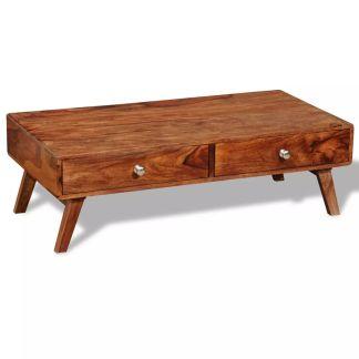 vidaXL Kavos staliukas, su 4 stalčiais, 35 cm, masyvi akacijos med.