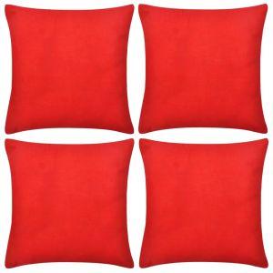 4 Raudoni Pagalvėlių Užvalkalai, Medvilnė, 80 x 80 cm