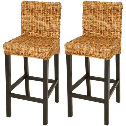 vidaXL 2 baro kėdės, abaka, rudos