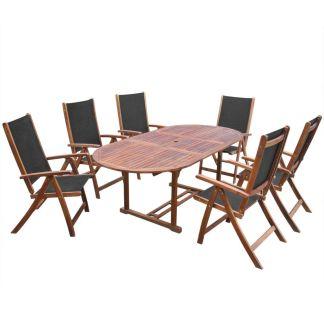 vidaXL Lauko valgomojo baldų kompl., 7d., akacijos medienos masyvas