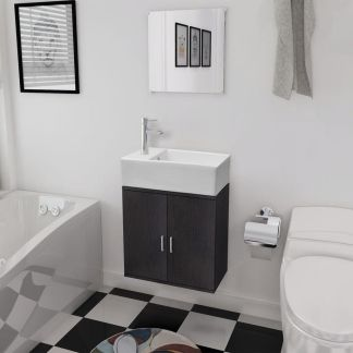 vidaXL 3 d. baldų ir praustuvo komplektas vonios kambariui, juodas