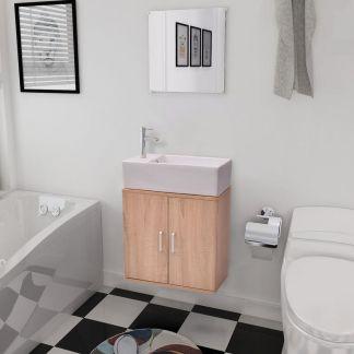 vidaXL 3 d. baldų ir praustuvo komplektas vonios kambariui, smėlio sp.