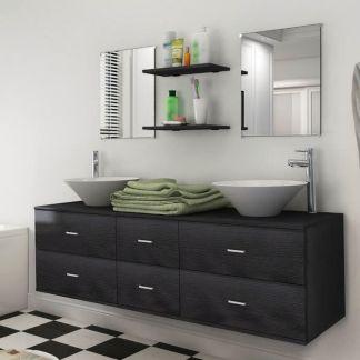 vidaXL 7 d. baldų ir praustuvo komplektas vonios kambariui, juodas