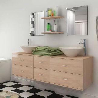 vidaXL 7 d. baldų ir praustuvo komplektas vonios kambariui, smėlio sp.