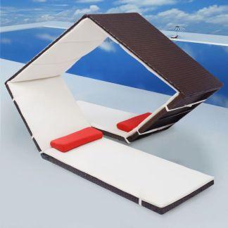 vidaXL Lauko gultas, deimanto formos, poliratanas, rudas