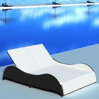 vidaXL Dvivietis saulės gultas su pagalvėle, poliratanas, juodas