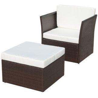 vidaXL Sodo krėslas su kėdute, poliratanas, rudas