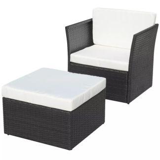 vidaXL Sodo krėslas su kėdute, poliratanas, juodas