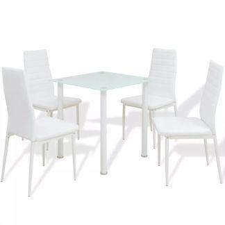 vidaXL Penkių dalių, valgomojo stalo ir kėdžių komplektas, baltas