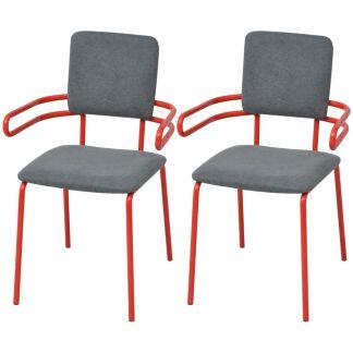vidaXL Valgomojo kėdės/krėslai, 2 vnt., raudona ir pilka