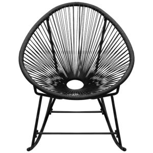 Supamoji sodo kėdė, sintetinis ratanas, juoda