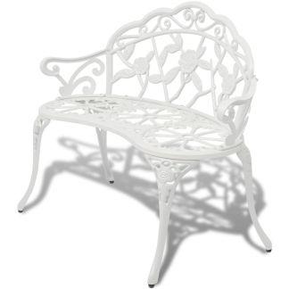 vidaXL Sodo suoliukas, 100 cm, aliuminis, baltas