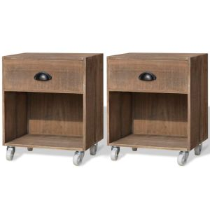 vidaXL 2 Naktiniai staliukai, masyvios medienos, rudos spalvos