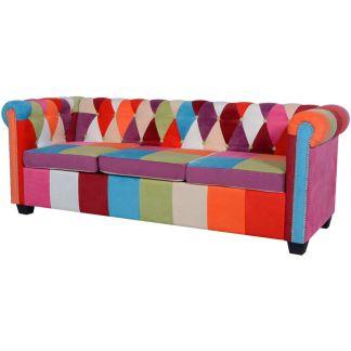 vidaXL Chesterfield trivietė sofa, audinys