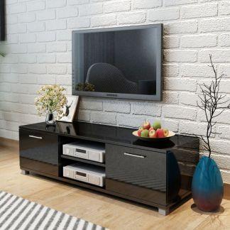 vidaXL TV staliukas, labai blizgus, juodas, 120×40,3×34,7 cm