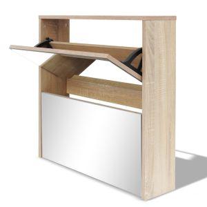 Batų dėžė, 2 lygių su veidrodžiais, ąžuolo spalvos, 63x17x67 cm