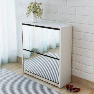 vidaXL Batų dėžė, 2 lygių su veidrodžiais, balta, 63x17x67 cm