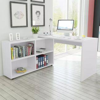 vidaXL Kampinis rašomasis stalas, 4 lentynos, baltas