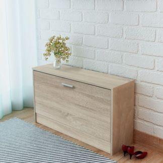 vidaXL Batų dėžė suoliukas, ąžuolas, 80x24x45 cm