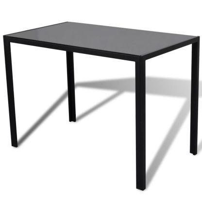 5 dalių valgomojo stalo ir kėdžių komplektas, juodas