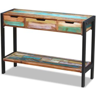 vidaXL Perdirbtos medienos staliukas su 3 stalčiais