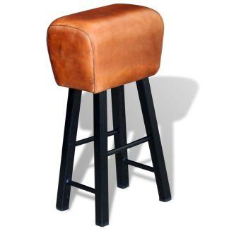 vidaXL Baro kėdė, tikra oda, ruda