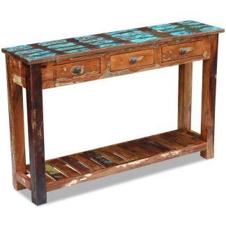 vidaXL Konsolinis staliukas, masyvi perdirbta mediena, 120x30x76 cm