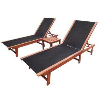 vidaXL Saulės gultai, 2vnt., su staliuku, akacijos med. ir tekstilenas