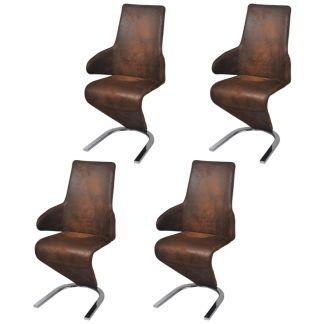 vidaXL Gembės formos valgomojo kėdės, 4 vnt., audinys, rudos