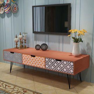 vidaXL TV staliukas su 3 stalčiais, 120x40x36 cm, rudas