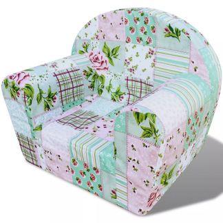 vidaXL Vaikiškas fotelis, gėlėtas