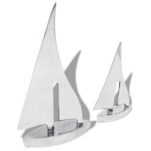 vidaXL Dviejų dalių burinės valties dekoracija, aliuminis, sidabro sp.