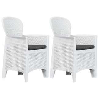 vidaXL Sodo kėdės su pagalv., 2vnt., balt. sp., plastik., rat. imit.