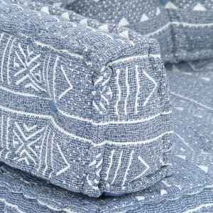 Pagalvėlė sofai iš palečių, indigo sp., audinys, skiautinė