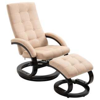 vidaXL Atlošiamas krėslas su pakoja, kreminės sp., zomša