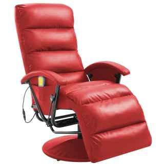 vidaXL Atlošiamas masažinis TV krėslas, raudonos sp., dirbtinė oda